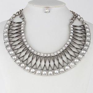 Silver rhinestone matching necklace set